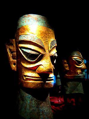 Sanxingdui - Sanxingdui bronze heads with gold foil masks