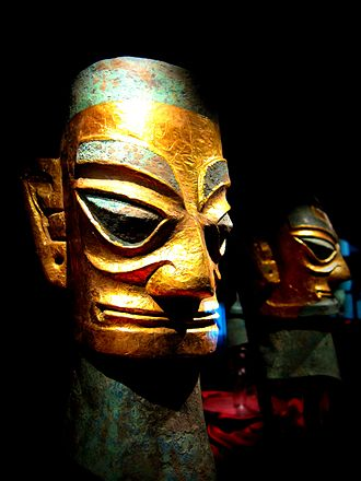 Shu (state) - A bronze head with gold foil created by the inhabitants of Shu during the thirteenth or twelfth century BCE.