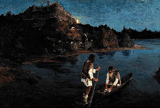 Christianization of the Rus' Khaganate - A scene from the 860s tribal war, by Nicholas Roerich (1897)