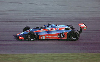 Patrick Racing - Gordon Johncock driving for Patrick Racing at Pocono in the familiar red and blue STP colors.