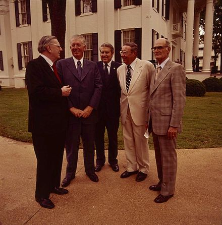 Five Governors of Mississippi in 1976, from left to right: Ross Barnett, James P. Coleman, William L. Waller, John Bell Williams, and Paul B. Johnson Jr. Governors of Mississippi.jpg
