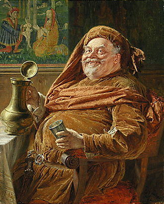 Chimes at Midnight - Eduard von Grützner's Falstaff with big wine jar and cup shows the traditional jolly and comical depiction of Falstaff that Welles rejected.