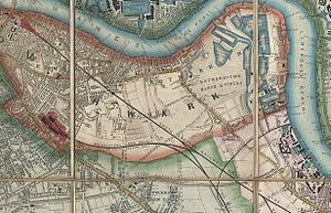 Grand Surrey Canal - Grand Surrey Canal on Davies Pocket Map of London, 1852