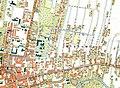 Granice getta żydowskiego oznaczone niebieskim kolorem, cmentarz żydowski żółtym kolorem, kompleks budynków szpitala żydowskiego zielonym kolorem.JPG