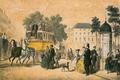 Gravure du XIXe siècle d'une diligence se déplaçant sur le boulevard d'Anvers à Bruxelles.png