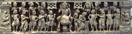 "The ""Great Departure"" of Siddhartha Gautama, surrounded by a halo, he is accompanied by numerous guards and devata who have come to pay homage; Gandhara, Kushan period Great Departure.JPG"