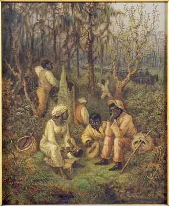 Great Dismal Swamp - Refugee slaves in the Great Dismal Swamp before the Civil War, painted 1888