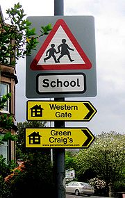 Sign to Green Craigs housing development.