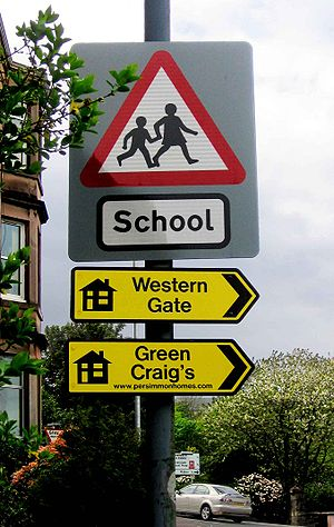 Sign to Green Craigs, Gourock, demonstrating g...