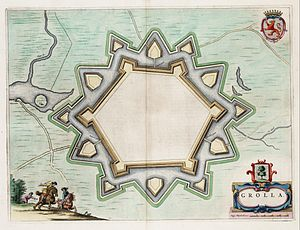 Siege of Groenlo (1672) - Image: Grolla Map of Groenlo, after 1628 (J.Blaeu, 1649)