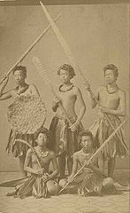 Group of Hawaiian Warriors Dressed in Native Costume, c. 1860, carte de visite by Henry L. Chase.jpg