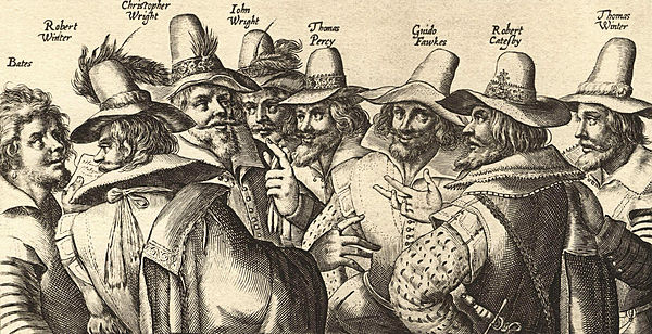 A contemporary engraving of eight of the thirteen conspirators, by Crispijn van de Passe. Fawkes is third from the right. Gunpowder Plot conspirators.jpg