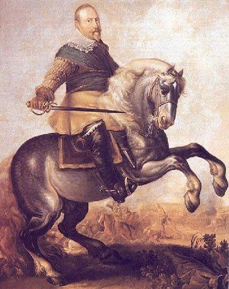 Monarchy of Sweden - The Lion of the North: King Gustavus Adolphus depicted at the turning point of the Battle of Breitenfeld (1631) against the forces of Johann Tserclaes, Count of Tilly.