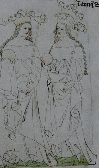 Judith of Habsburg - Queen Judith and her successor Elizabeth Richeza, Chronicon Aulae Regiae, Zbraslav Monastery, 14th century
