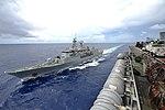 HMNZS Te Kaha (F77) is replenished by USS Nimitz (CVN-68) on 2 July 2017 (170702-N-JH929-443).JPG