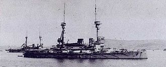 Lord Nelson-class battleship - Lord Nelson (foreground) and Agamemnon (rear) anchored at the Dardanelles in 1915.