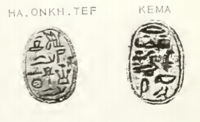 "Scarab seals of the ""Royal seal bearer, divine father Haankhef"", the father of Sihathor, and ""Princess, royal daughter Kema"", daughter of Neferhotep, niece of Sihathor. Haankhef&KemaScarabsPetrie.png"