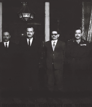 Human rights in Rojava - Baath party chairman and President of Syria Hafez al-Assad and his top officials in 1971 (From left to right: Parliament Speaker Ahmad al-Khatib, President Hafez al-Assad, Deputy Secretary-General of the Baath Party Abdullah al-Ahmar, Defense Minister Mustapha Tlass.)