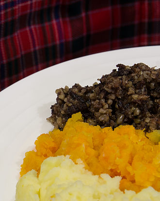 Haggis - A serving of haggis, neeps, and tatties