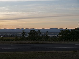 Quebec Autoroute 20 - Autoroute 20 in Saint-Michel-de-Bellechasse with the Saint Lawrence River and the Laurentian Mountains at the background
