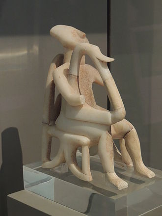 Cyclades - Harp player, example of Cycladic art, at the National Archeological Museum, Athens