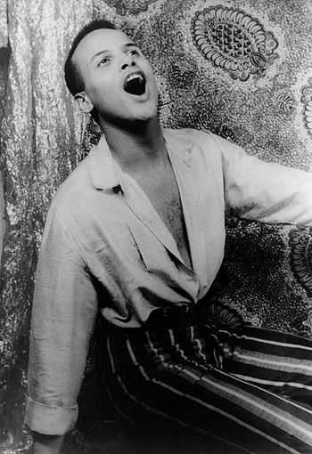 Portrait of Harry Belafonte, singing, 1954 Feb...