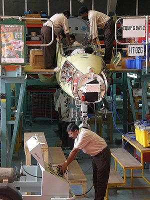 Hindustan Aeronautics Limited - An IAF BAe Hawk being licence-produced at the HAL Hawk production facility in Bangalore