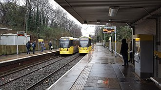 Heaton Park tram stop - Two M5000 trams at Heaton Park station in January 2017