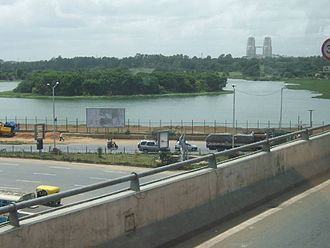 Hebbal - Hebbal Lake seen from flyover