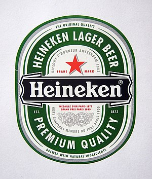 Heineken brands - Bottle label of Heineken Lager Beer
