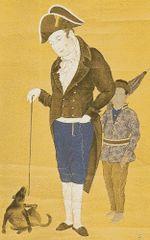 Hendrik Doeff and a Balinese servant in Dejima, Japanese painting.