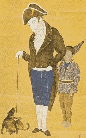 Hendrik Doeff - Hendrik Doeff and a Balinese servant in Dejima, Japanese painting, c. early 19th century
