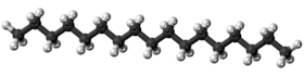 Ball and stick model of the heptadecane molecule