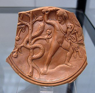 Ladon (mythology) - Heracles and Ladon, Roman relief plate, late era.