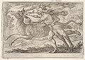 Hercules and the Hind of Mount Cerynea- Hercules strides alongside the hind and grasps the base of one antler with his right hand, from the series 'The Labors of Hercules' MET DP832531.jpg
