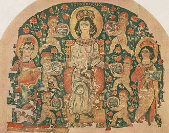"Hestia - ""Hestia full of Blessings"", Egypt, 6th century tapestry (Dumbarton Oaks Collection)"