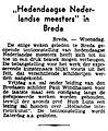 """Het Volk vol 042 no 16989 """"Hedendaagse Nederlandse meesters"""" in Breda.jpg"""