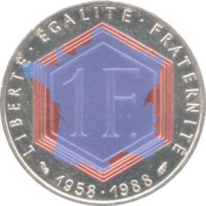 Metropolitan France - l'Hexagone illustrated by overlaying the outline of mainland France with the hexagon on the 1988 Charles de Gaulle commemorative 1 franc coin. The sides of the hexagon are: 1. the Channel coast, 2. the Atlantic coast, 3. the Pyrenees (border with Spain), 4. the Mediterranean coast, 5. the eastern border (Alps, Jura and Upper Rhine; Monaco to Karlsruhe), and 6. the northeastern border (German Rhineland and Belgium; Karlsruhe to Dunkirk).