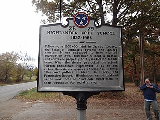 Highlander Research and Education Center - Image: Higlander Folk School Center Historical Marker Back