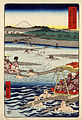 Hiroshige, Ōi River between Suruga and Totomi, 1858.jpg