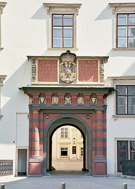 The famous red-black Swiss Gate (Schweizertor) at the Hofburg Palace, Vienna Hofburg Schweizertor 5.2006.jpg