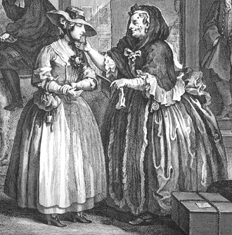 A detail from plate 1 of William Hogarth's (1697-1764) The Harlot's Progress, showing brothel-keeper Elizabeth Needham, on the right, procuring a young woman who has just arrived in London Hogarth-Harlot-1 crop.png