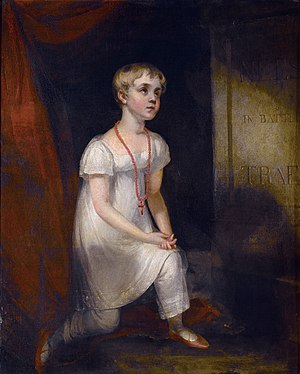 Horatia Nelson - Horatia Nelson kneeling before her father's (imaginary) tomb (William Owen, after 1807)