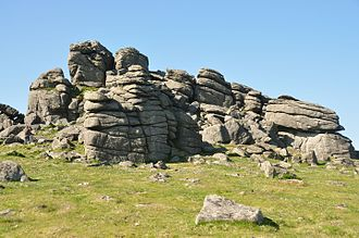 Cornubian batholith - Hound Tor on Dartmoor showing horizontal and vertical joints in the granite