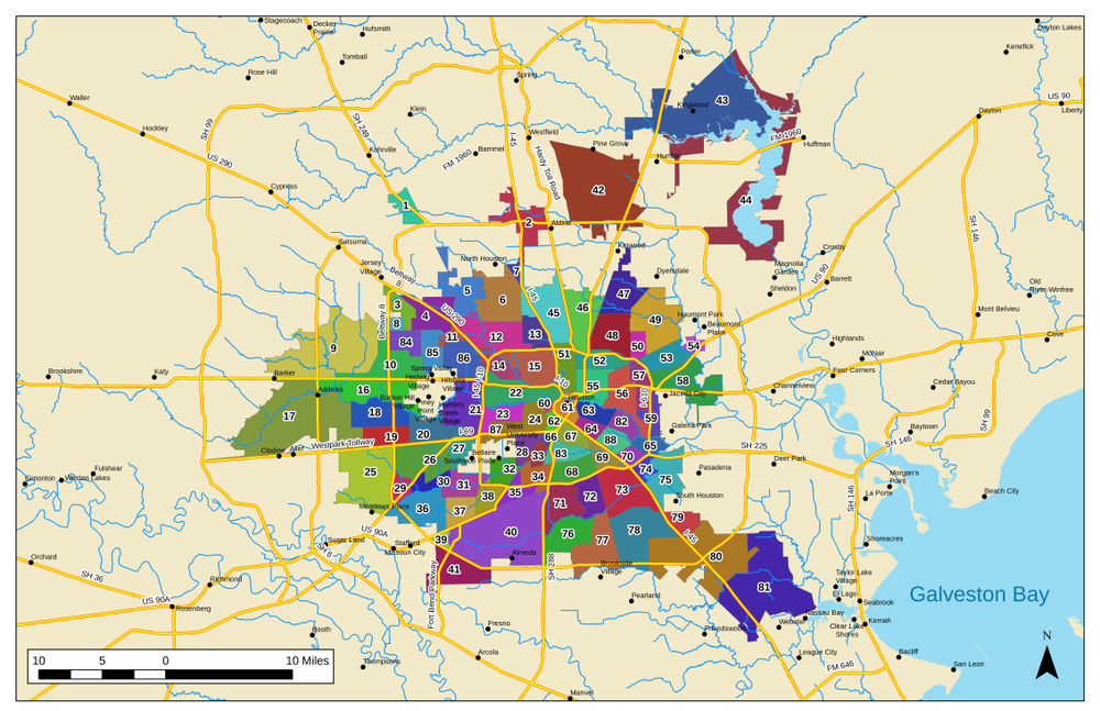 Greater Houston Area Zip Code Map.List Of Houston Neighborhoods Wikipedia