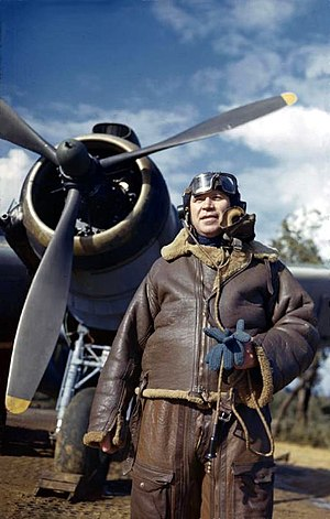 Hugh Pughe Lloyd - Air Vice Marshal Lloyd, AOC Mediterranean Allied Coastal Air Forces, stands beside the Bristol Beaufighter in which he flew to Britain, 18 March 1944