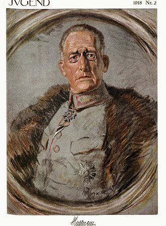 Karl Bauer - A portrait by Bauer of General Hugo von Huller, on the cover of Jugend in 1918