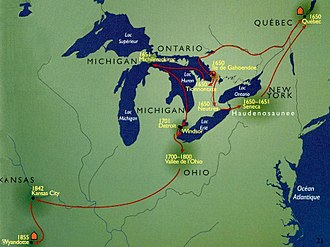 Northern Michigan - After taking refuge at Michilimackinac during the Beaver Wars, many Wyandot (Huron) migrated to the areas of Detroit, Windsor, and northern Ohio in the early 18th century.