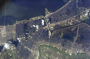 Climate justice - NASA flood image after Hurricane Katrina.
