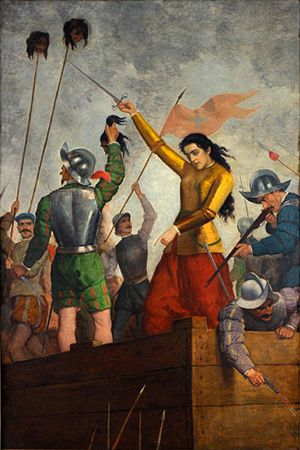 Santiago - Inés de Suárez, successfully defending Santiago against a Mapuche attack in 1541